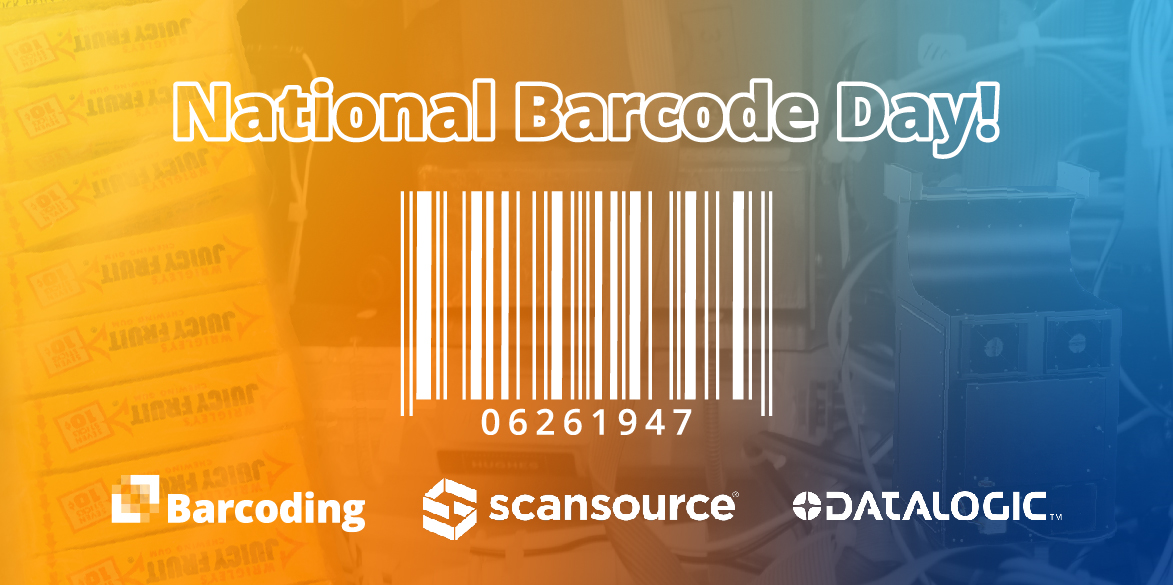 National Barcoding Day graphic with a bar code and the logos of Barcoding, Scansource, and Datalogic.