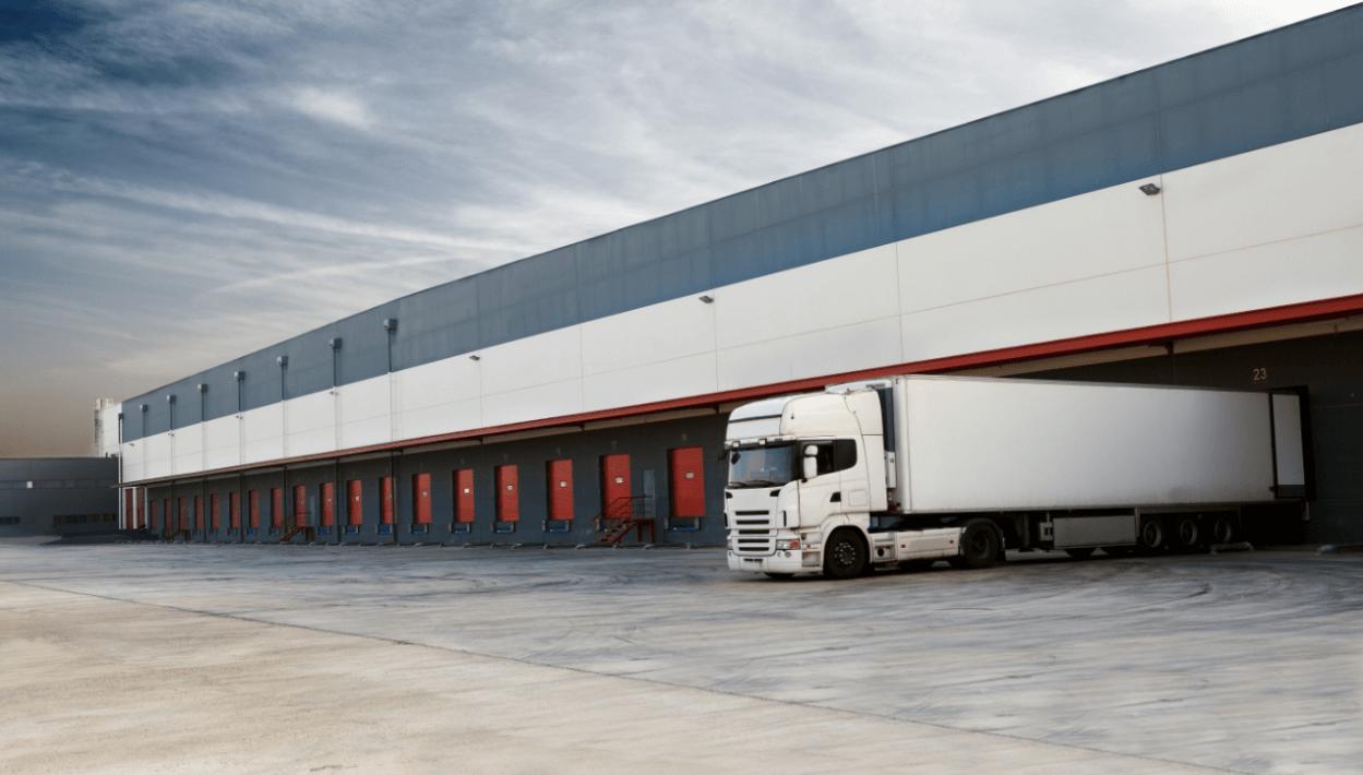 Semi truck at a loading dock
