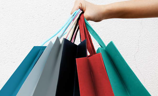 blue, gray, black, red and green gift bags
